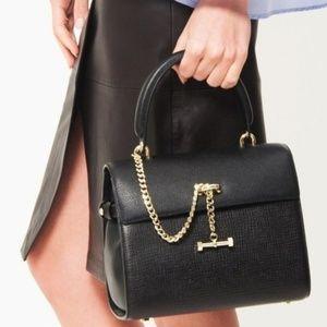 New Luana Italian Leather Black Paley Satchel NWT